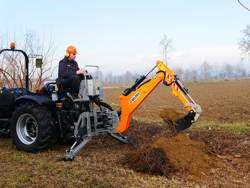 universal backhoe with bucket for agricultural tractors mod dk 1950